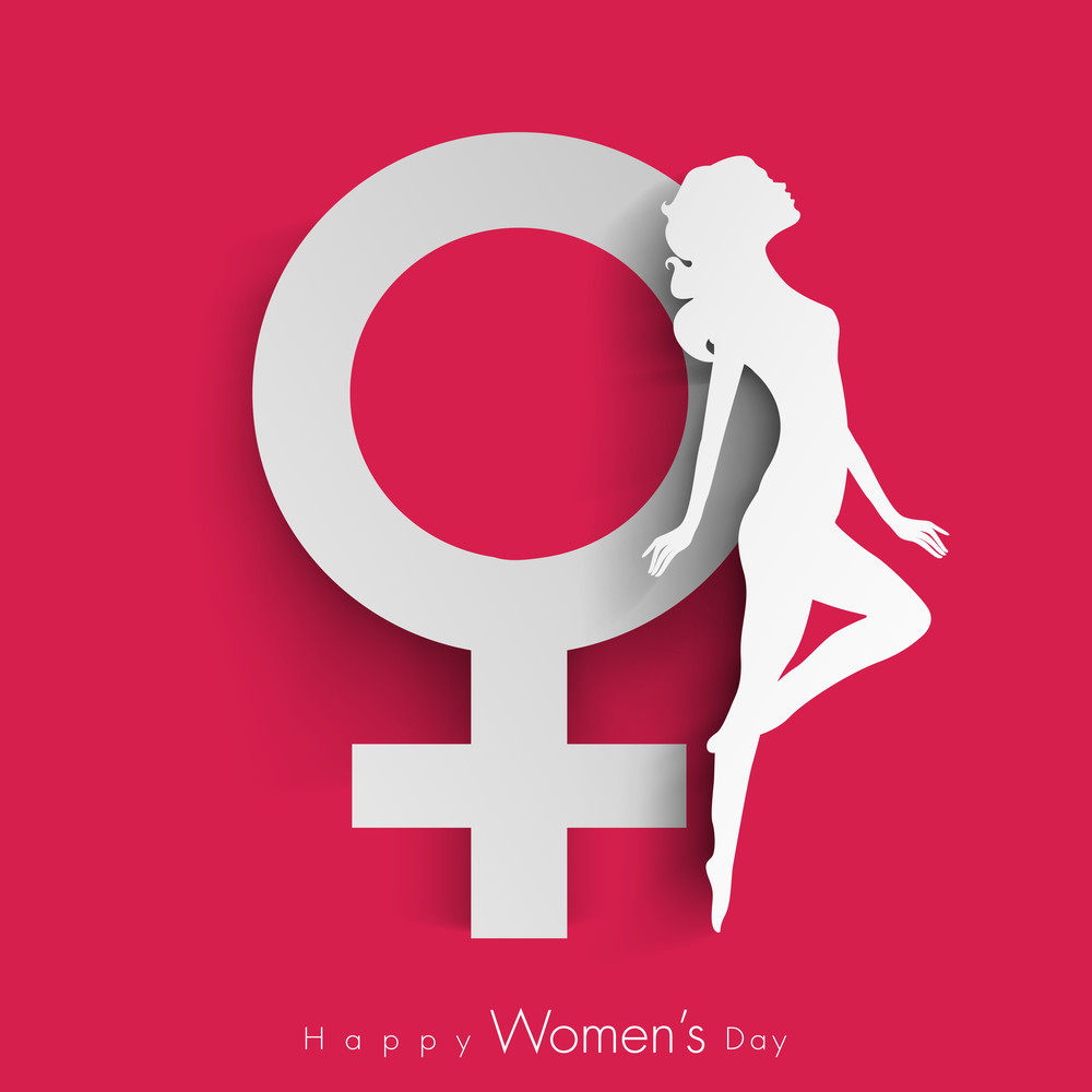 Happy Womens Day Greeting Card Or Poster Design With Symbol Of A Woman And White Silhouette Of Girl In Dancing Pose On Red Background.
