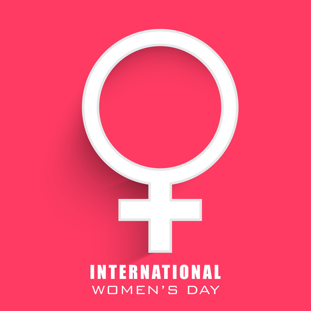 Happy Womens Day Greeting Card Or Poster Design With Symbol Of A Woman On Pink Background.
