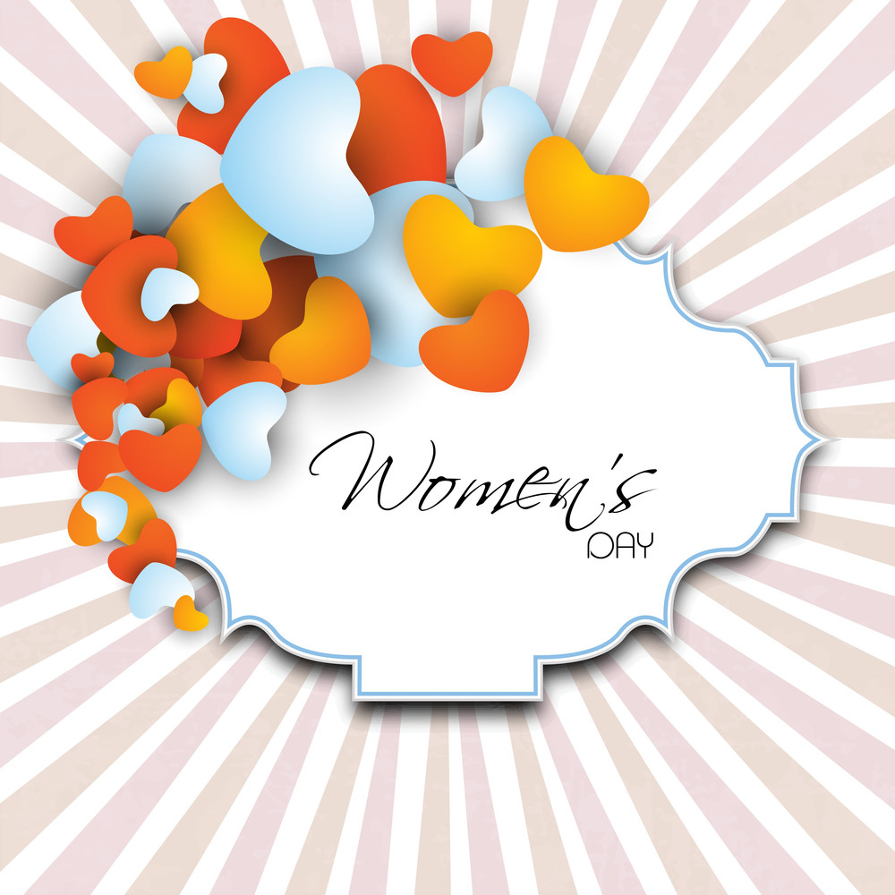 Happy Womens Day Greeting Card Or Poster Design With Tag For Your Space On Rays Background.