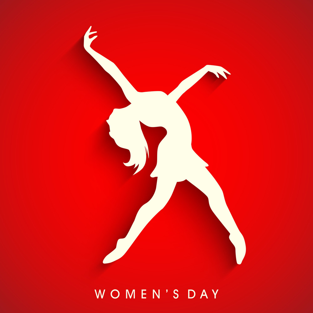 Happy Womens Day Greeting Card Or Poster Design With White Silhouette Of A Young Girl In Dancing Pose On Bright Red Background.