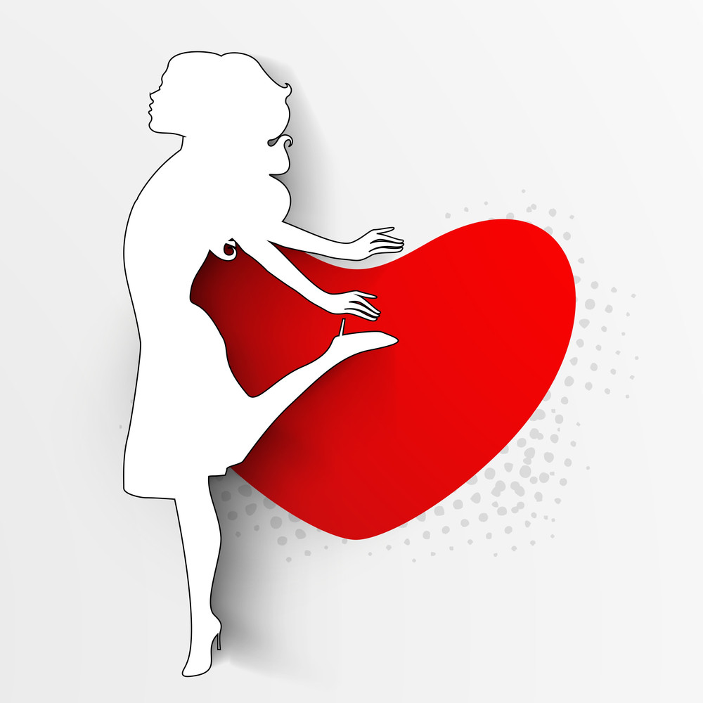 Happy Womens Day Greeting Card Or Poster Design With White Silhouette Of A G Girl On Red Heart Decorated Grey Background.