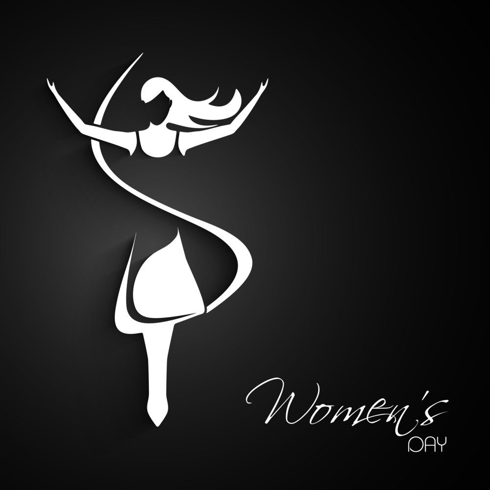 Happy Womens Day Greeting Card Or Poster Design With White Silhouette Of A Girl In Dancing Pose On Grey Background.