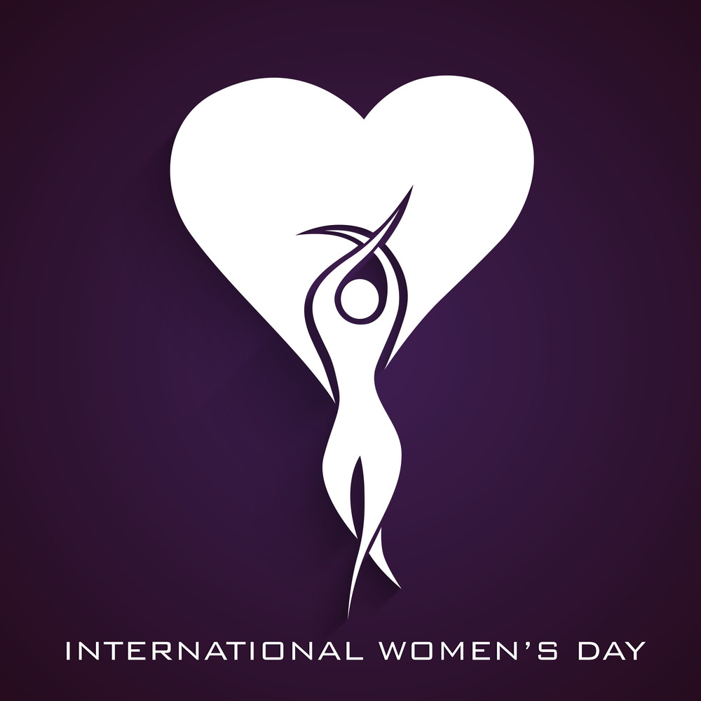 Happy Womens Day Greeting Card Or Poster Design With White Silhouette Of A Girl In Dancing Pose And Heart Shape Design On Purple Background.