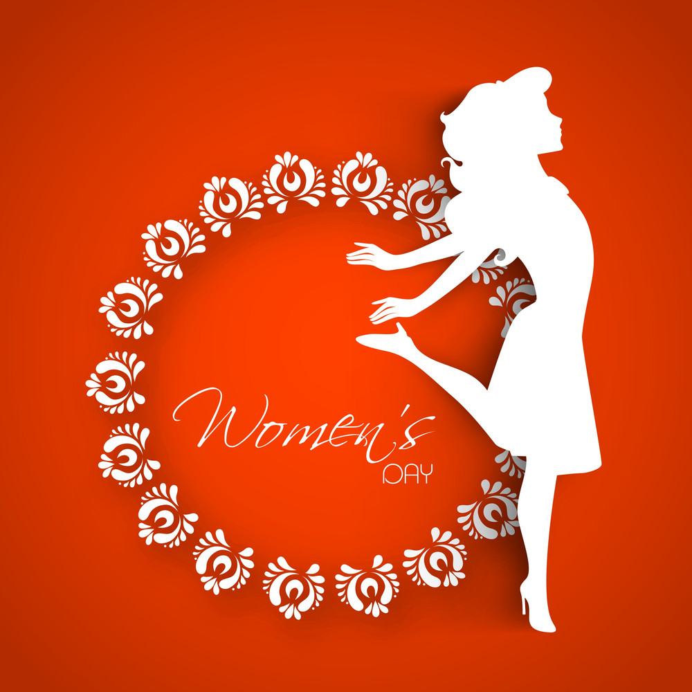 Happy Womens Day Greeting Card Or Poster Design With White Silhouette Of A Happy Girl On Floral Decorated Frame On Red Background.