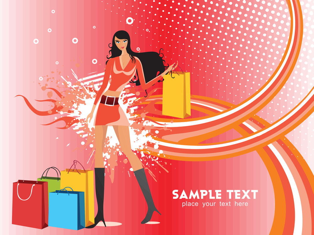 Happy Young Woman With Shopping Bags Against Red Background