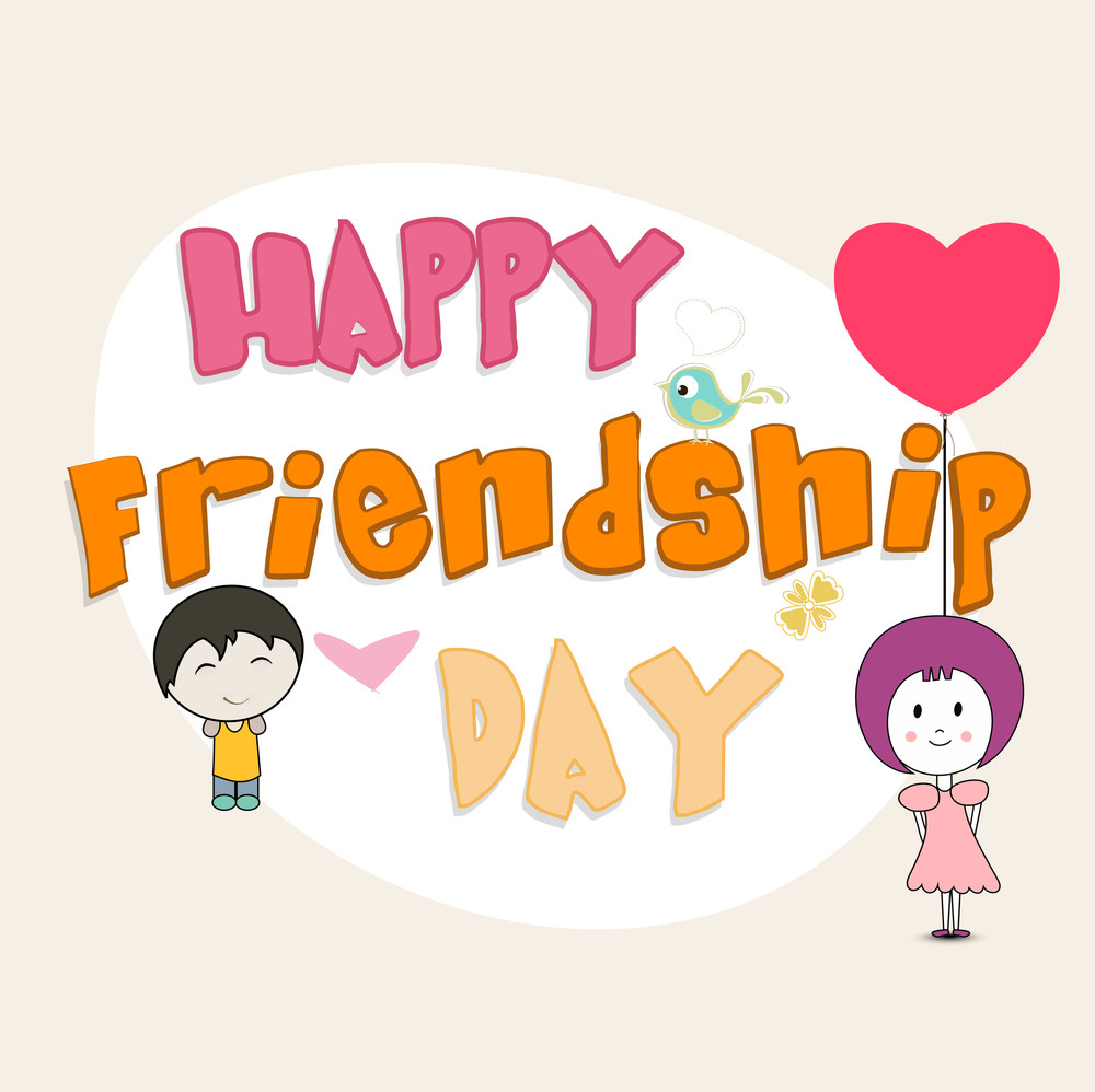 Happyfriendship Day Concept With Stylish Text And Two Little Kids
