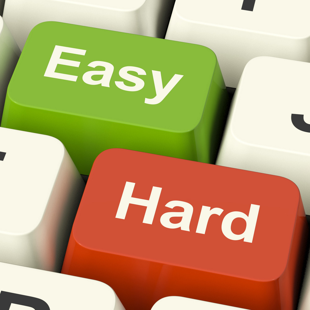 Hard Easy Computer Keys Showing The Choice Of Difficult Or Simple Way