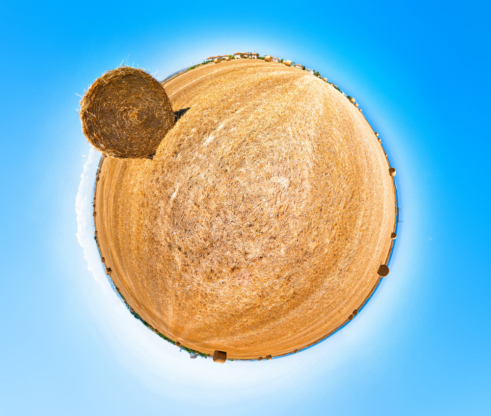 Hay Field. 360 Stereographic Projection.