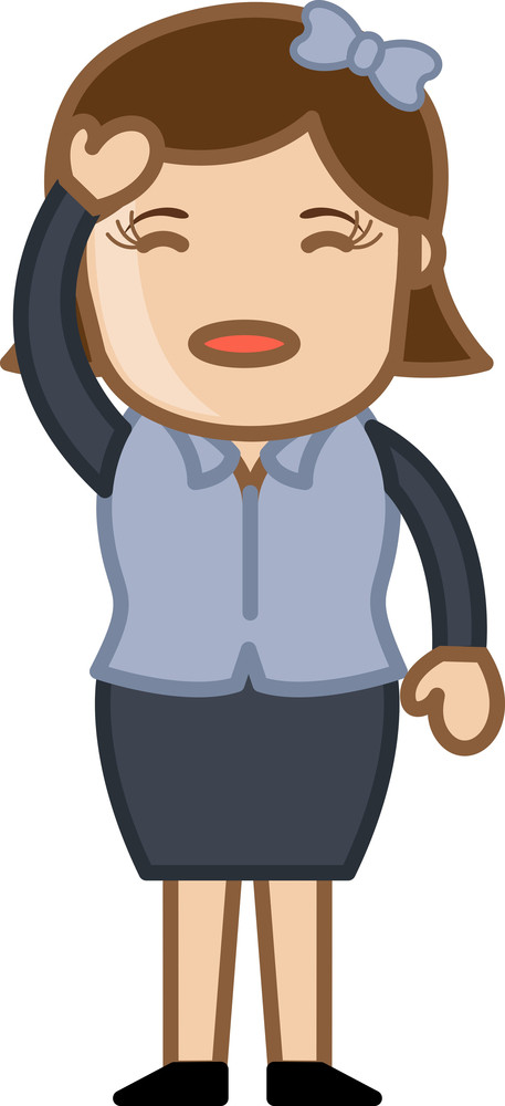 Headache In Office - Business Cartoon Character Vector