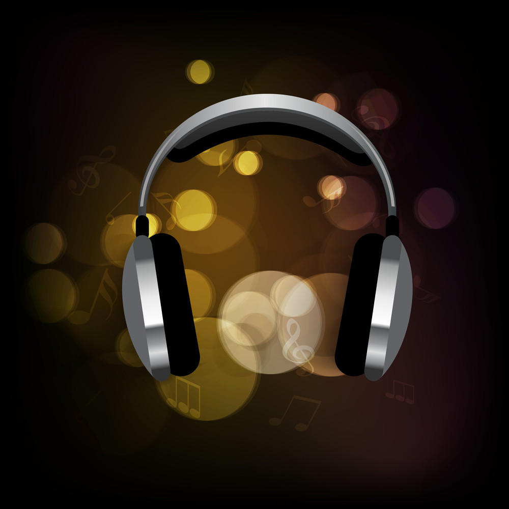 Headphones On Shiny Background