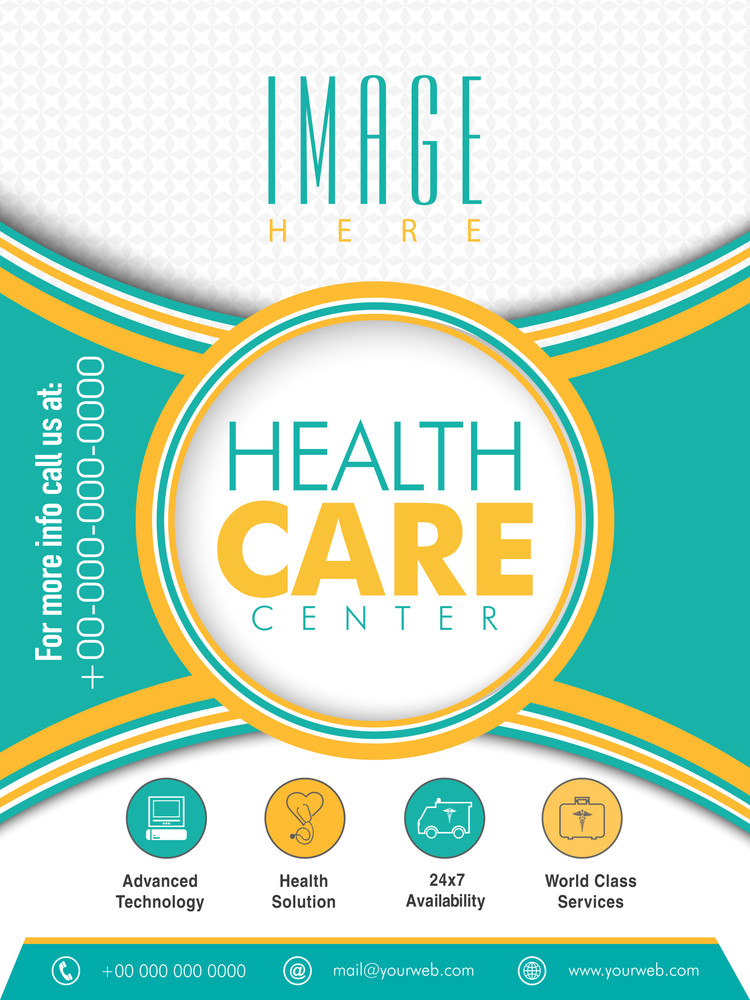 Health Care Center Flyer presentation with place holder for image and content.
