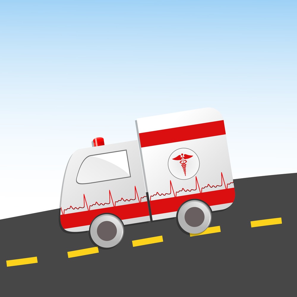 Health & Medical Concept With Amblulance On Road.