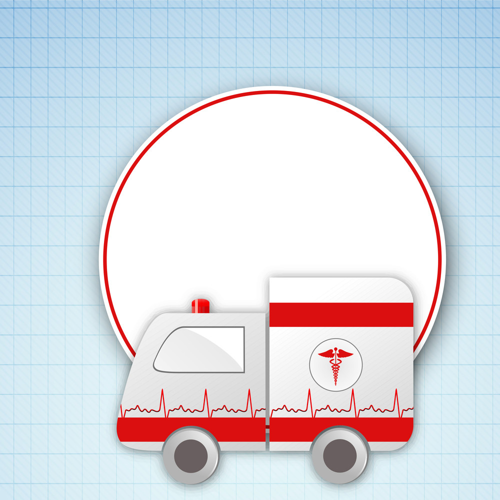 Health & Medical Concept With Ambulance On Blue Graph Background.