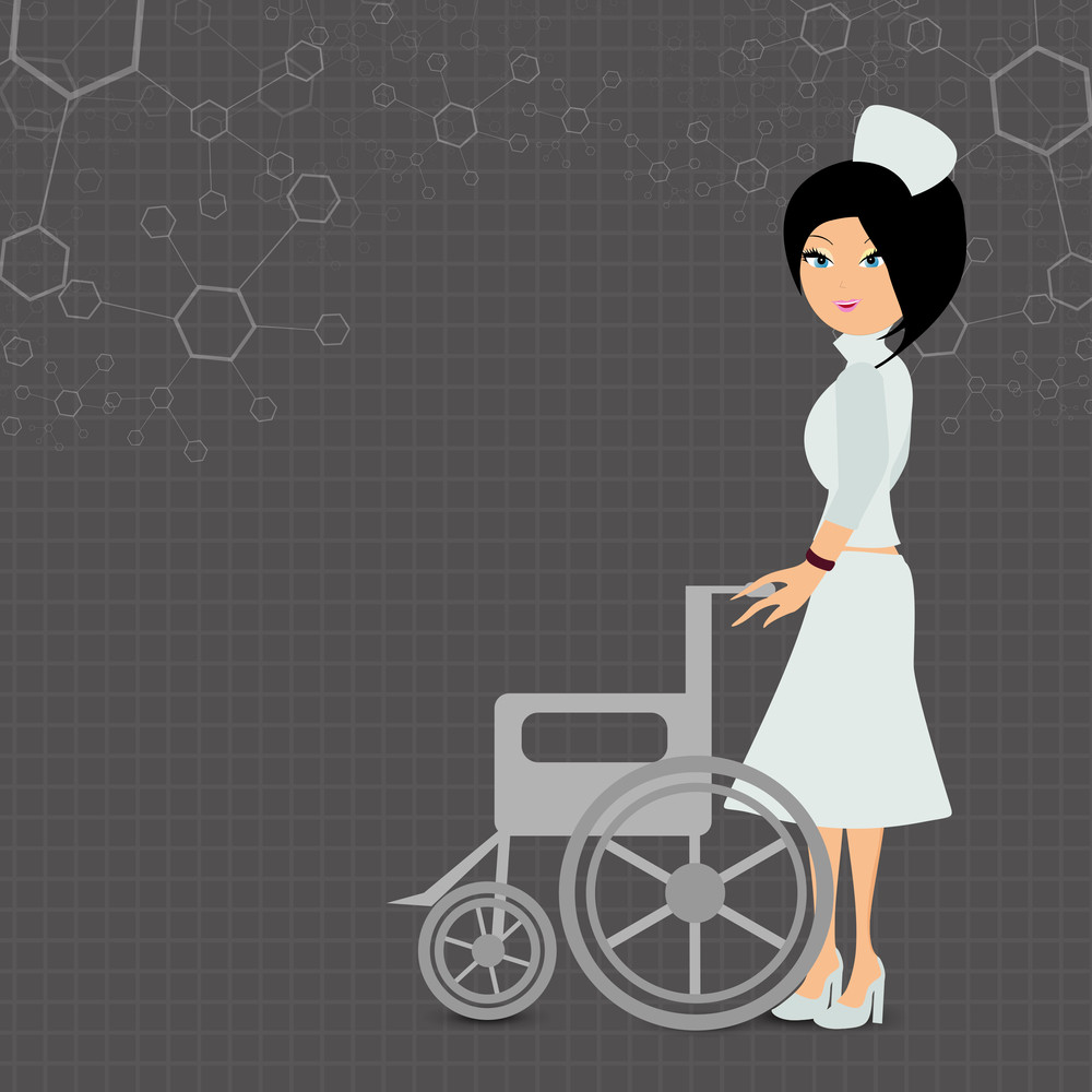Health & Medical Concept With Beautiful Nurse Holding A Wheel Chair On Grey Molecule Background.