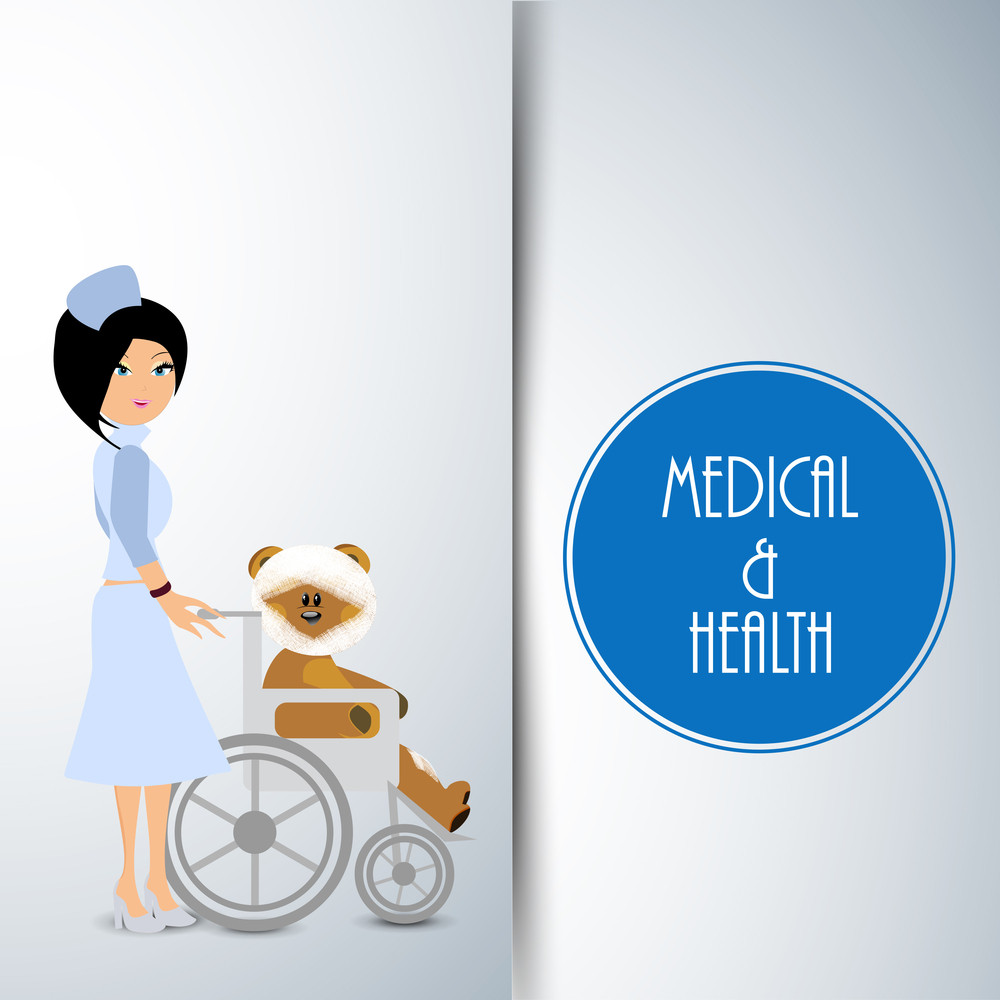 Health & Medical Concept With Beautiful Nurse Holding Chair With Teddy Bear On Blue Background.