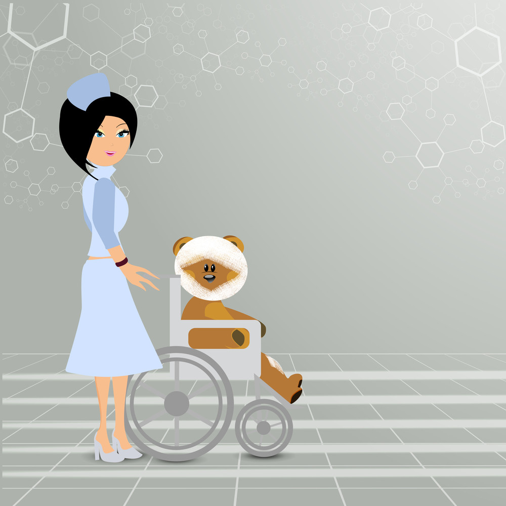 Health & Medical Concept With Beautiful Nurse Holding Chair With Teddy Bear On Grey Background.