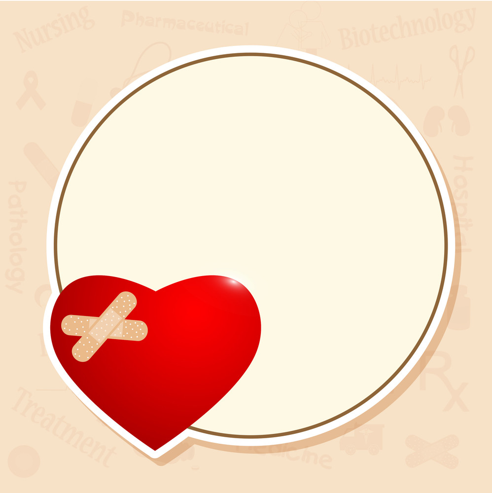 Health & Medical Concept With Beautiful Red Heart Shape On Blank Sticker For Your Message.