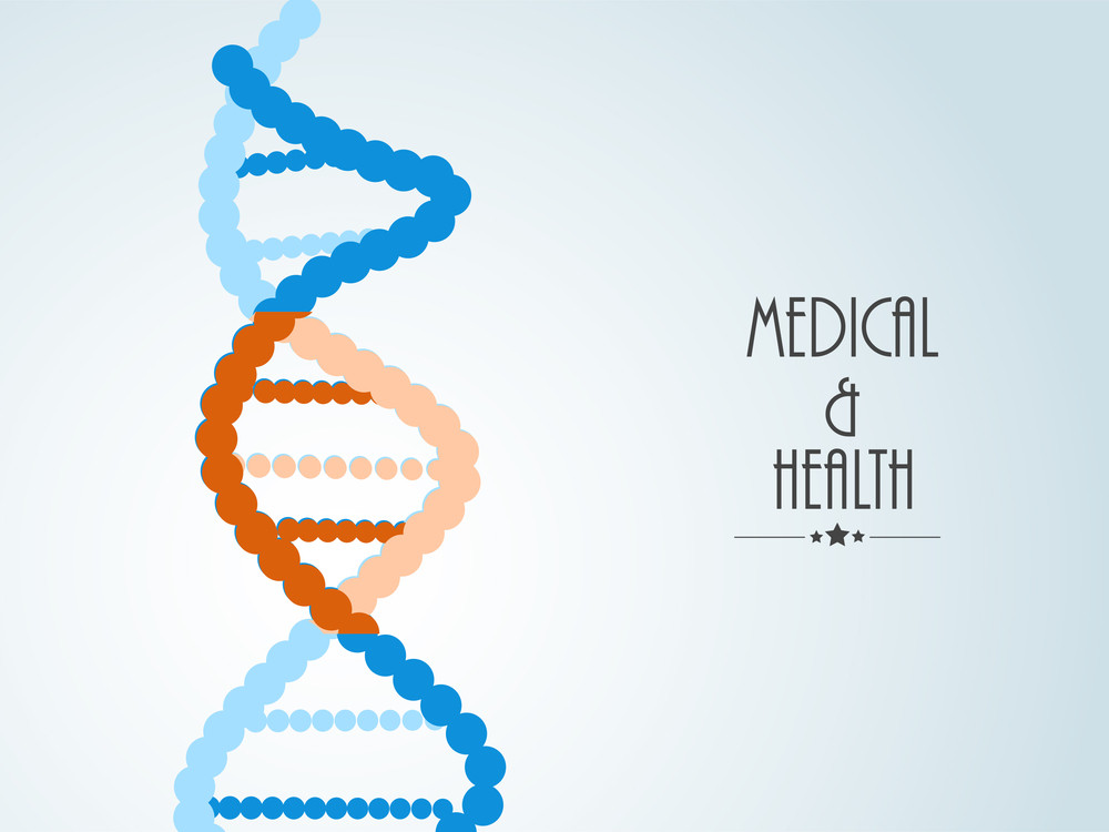 Health & Medical Concept With Colorful Dna On Blue Background.