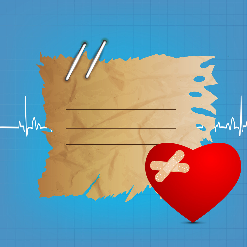 Health & Medical Concept With Concept With Heart Shape And Tag For Your Text On Blue Background.