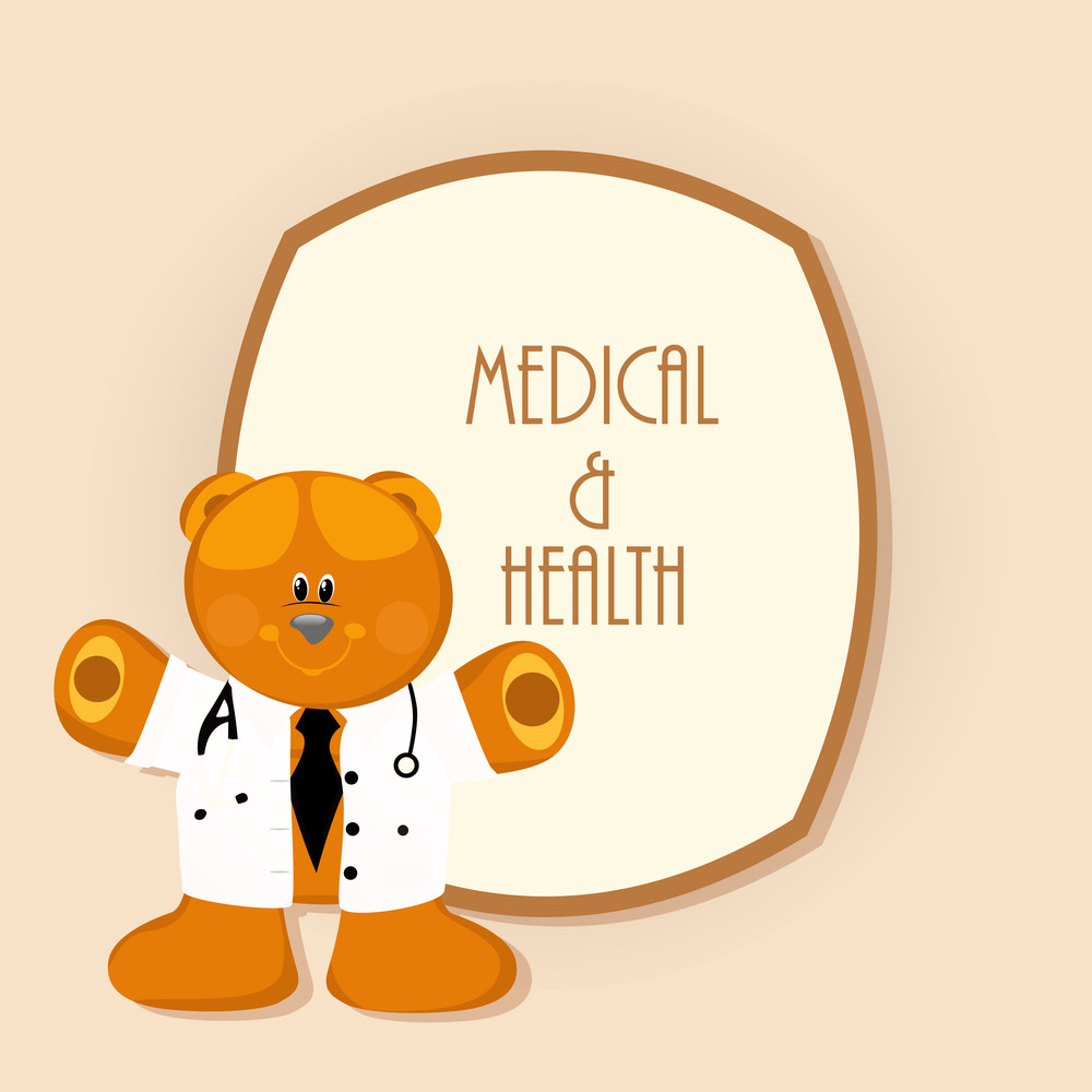 Health & Medical Concept With Cute Teddy Bear Wearing Doctor Coat On Abstract Background.