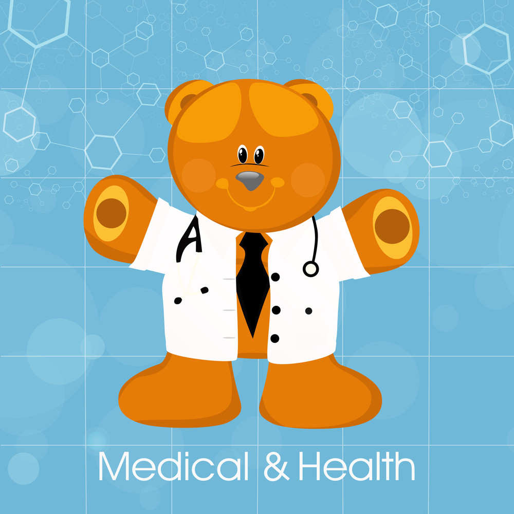Health & Medical Concept With Cute Teddy Bear Wearing Doctor Coat On Blue Background.