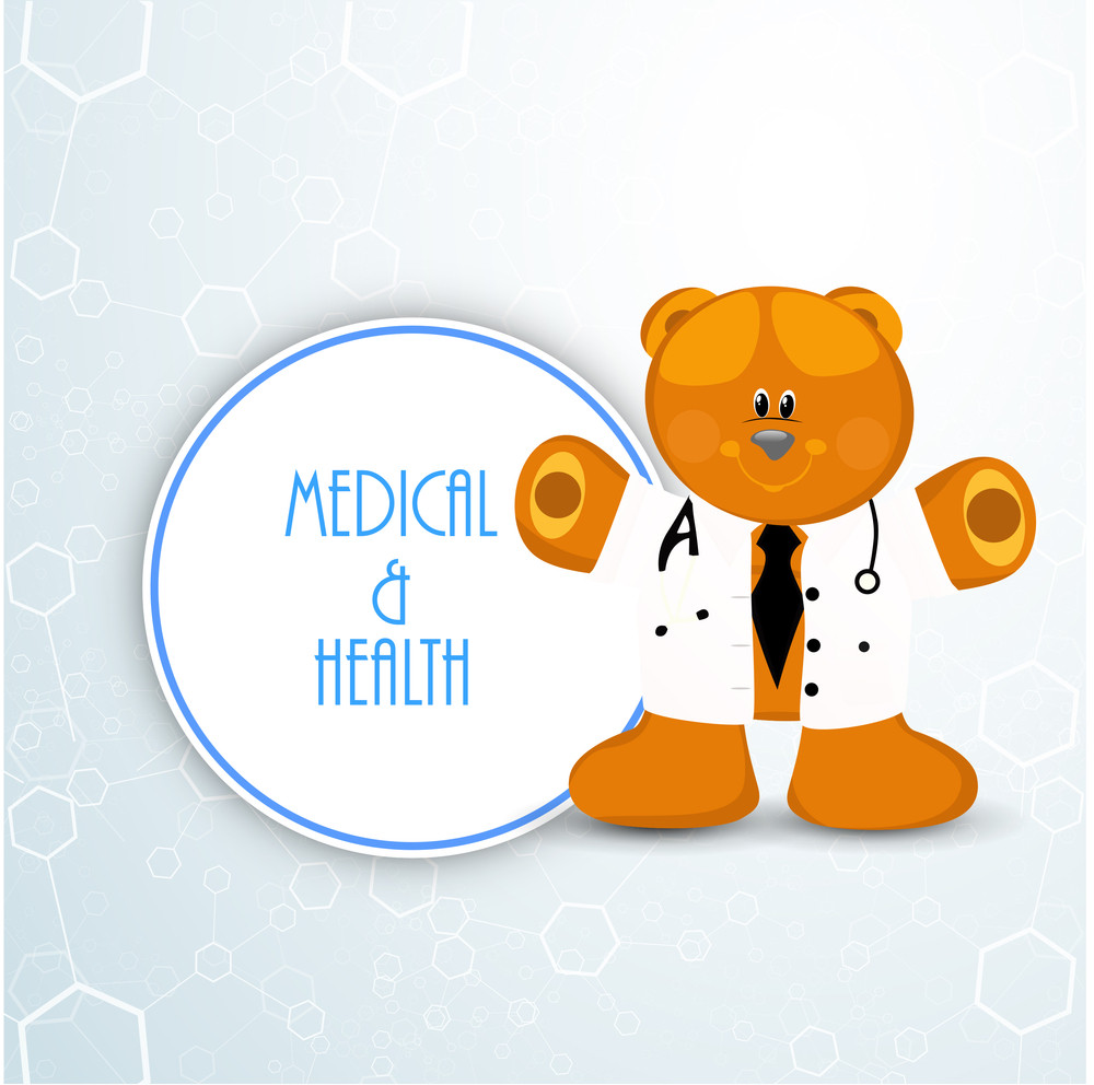Health & Medical Concept With Happy Teddy Bead In Doctor Coat On Blue Background.
