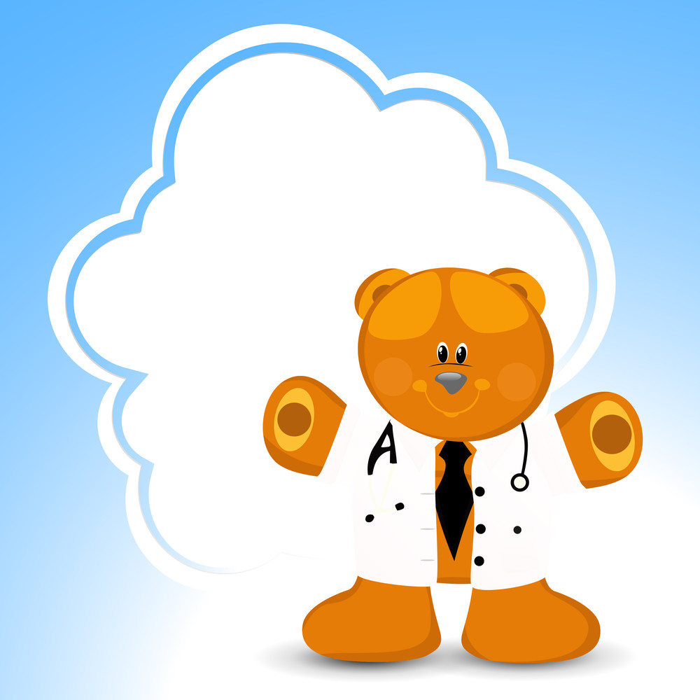 Health & Medical Concept With Happy Teddy Bear In Doctor Coat On Blue Background.