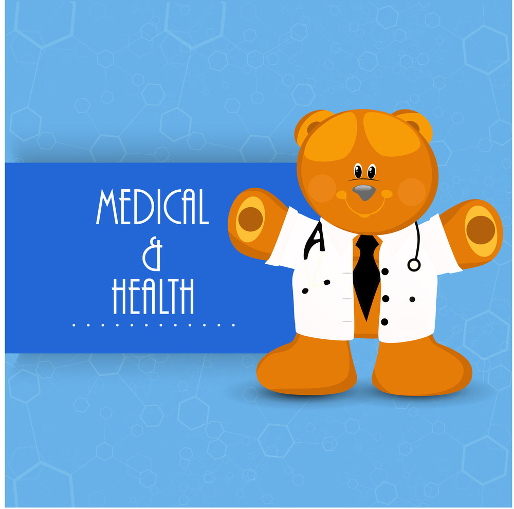 Health & Medical Concept With Happy Teddy Bear Wearing Coat On Blue Background.