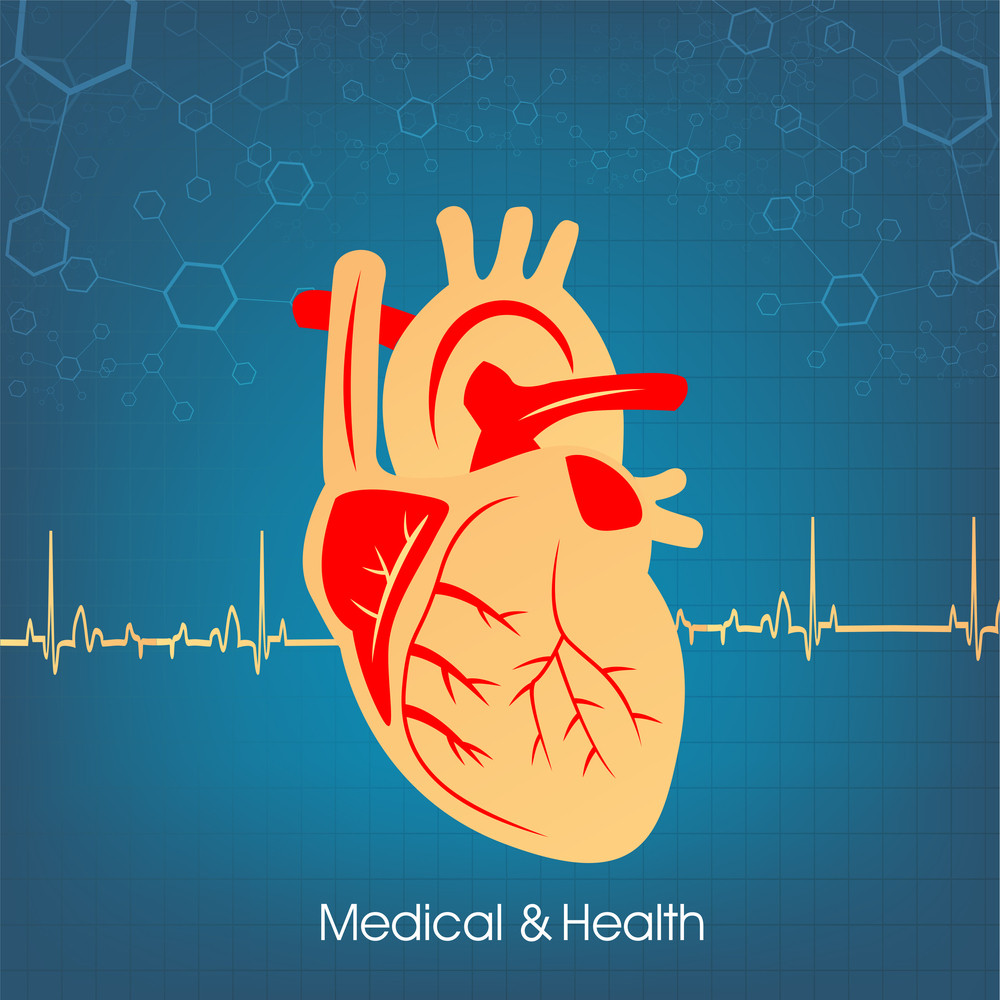Health & Medical Concept With Heart Shape On Blue Heartbeat Decorated Background.