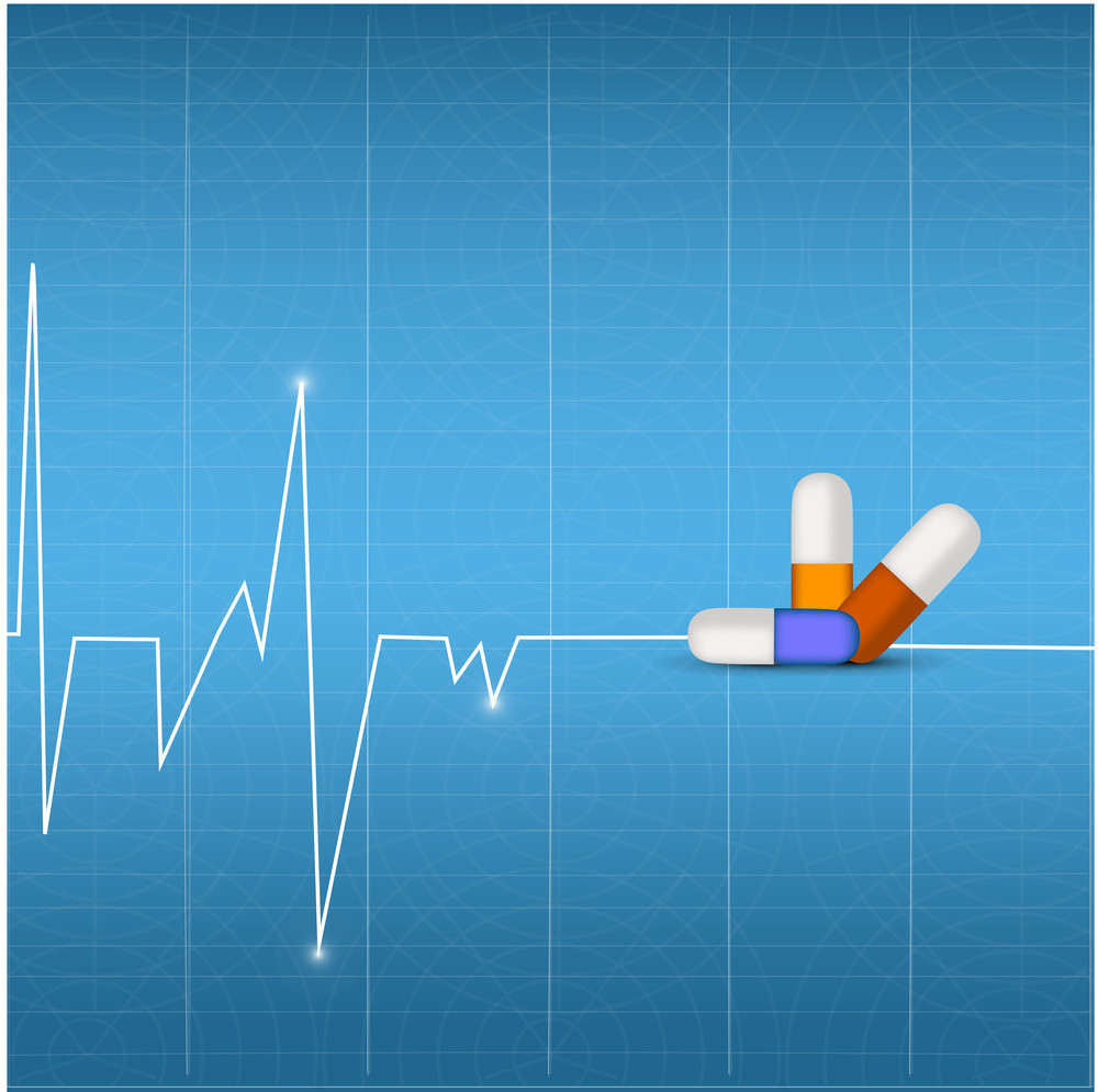 Health & Medical Concept With Heartbeats And Pills On Blue Background.