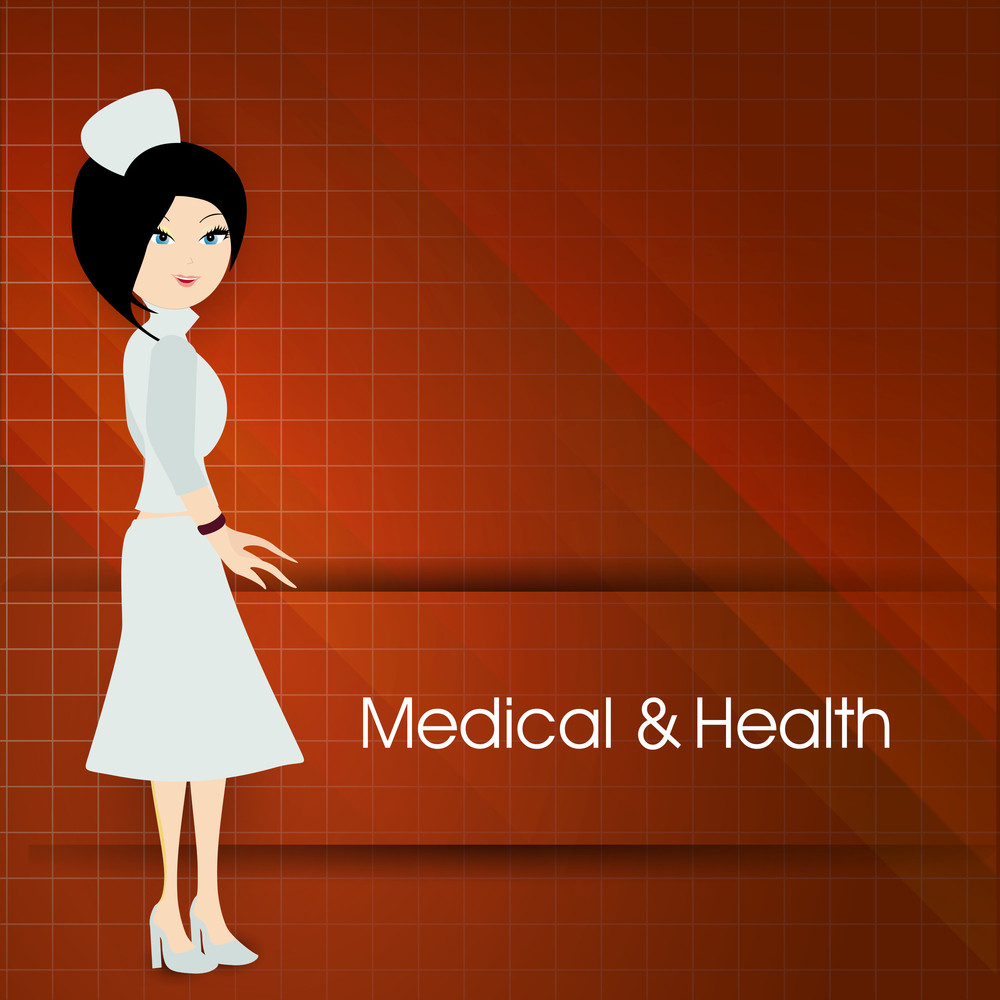 Health & Medical Concept With Illustration Of A Beautiful Nurse On Red Background.