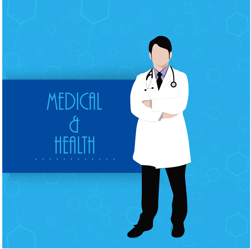 Health & Medical Concept With Illustration Of A Doctor On Blue Background.