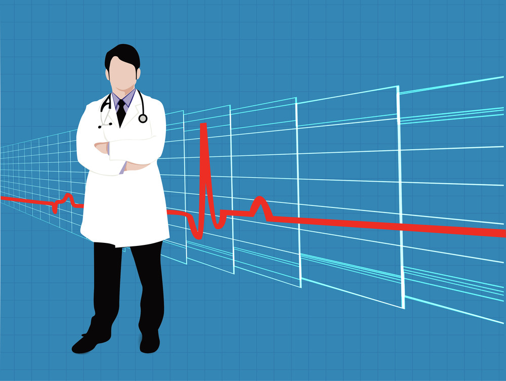 Health & Medical Concept With Illustration Of A Doctor On Heart Beat Background.