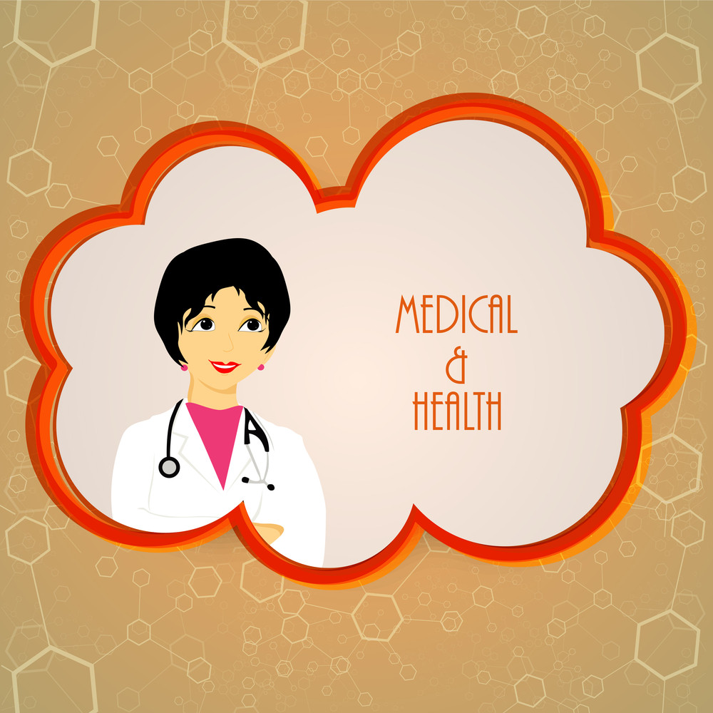 Health & Medical Concept With Illustration Of A Doctor On Molecule Decorated Brown Background.