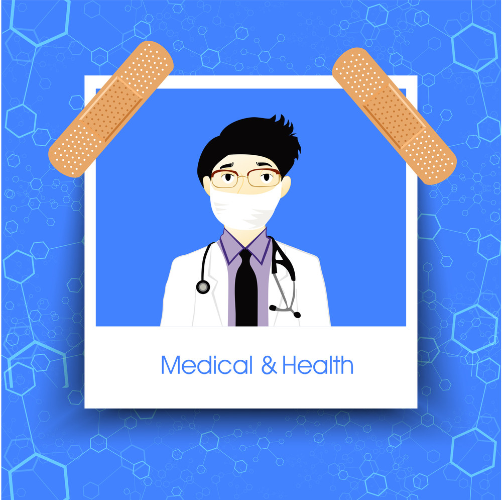 Health & Medical Concept With Illustration Of A Doctoron Molecules Decorated Blue Background.
