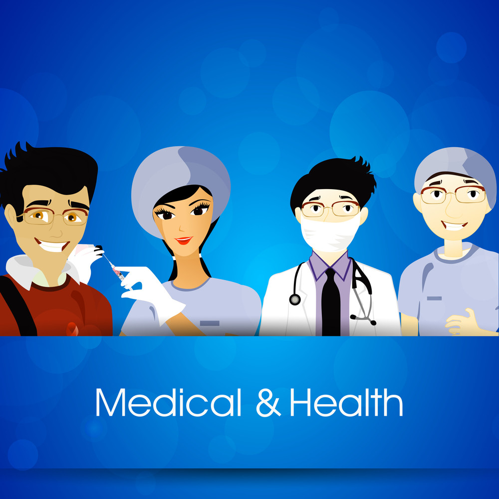 Health & Medical Concept With Illustration Of A Medical Team On Blue Background.