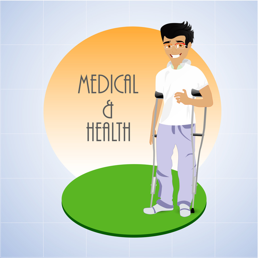 Health & Medical Concept With Illustration Of A Smily Patient On Green Stage