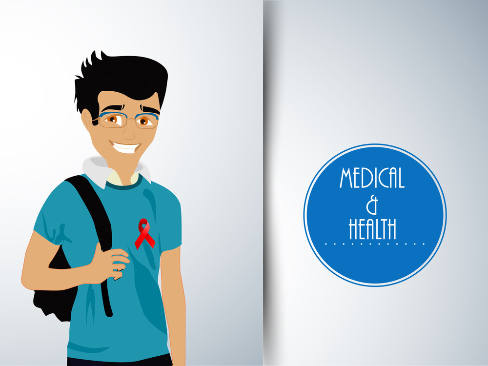 Health & Medical Concept With Illustration Of A Young Boy With Red Ribbon On Grey Background.