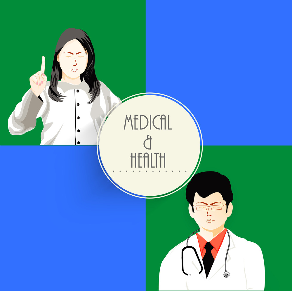 Health & Medical Concept With Illustration Of Doctors On  Green And Blue Background.