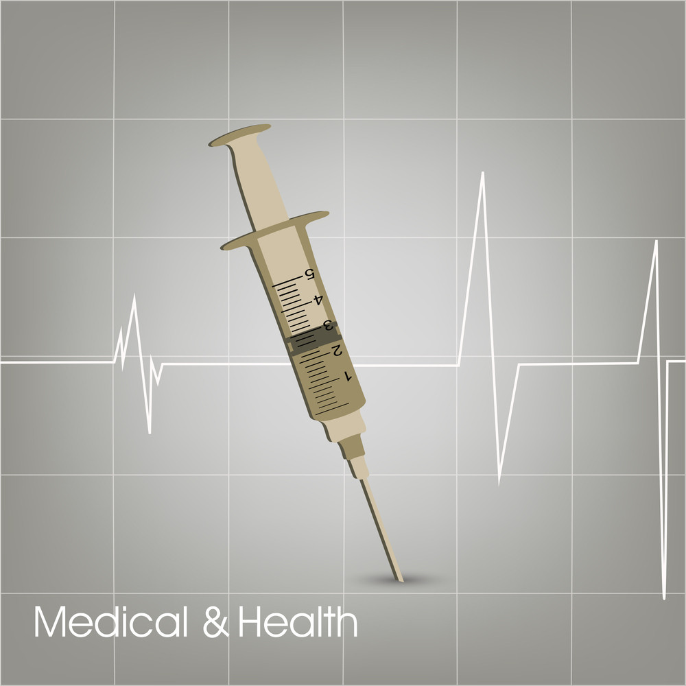Health & Medical Concept With Injection On Grey Heart Beat Background.