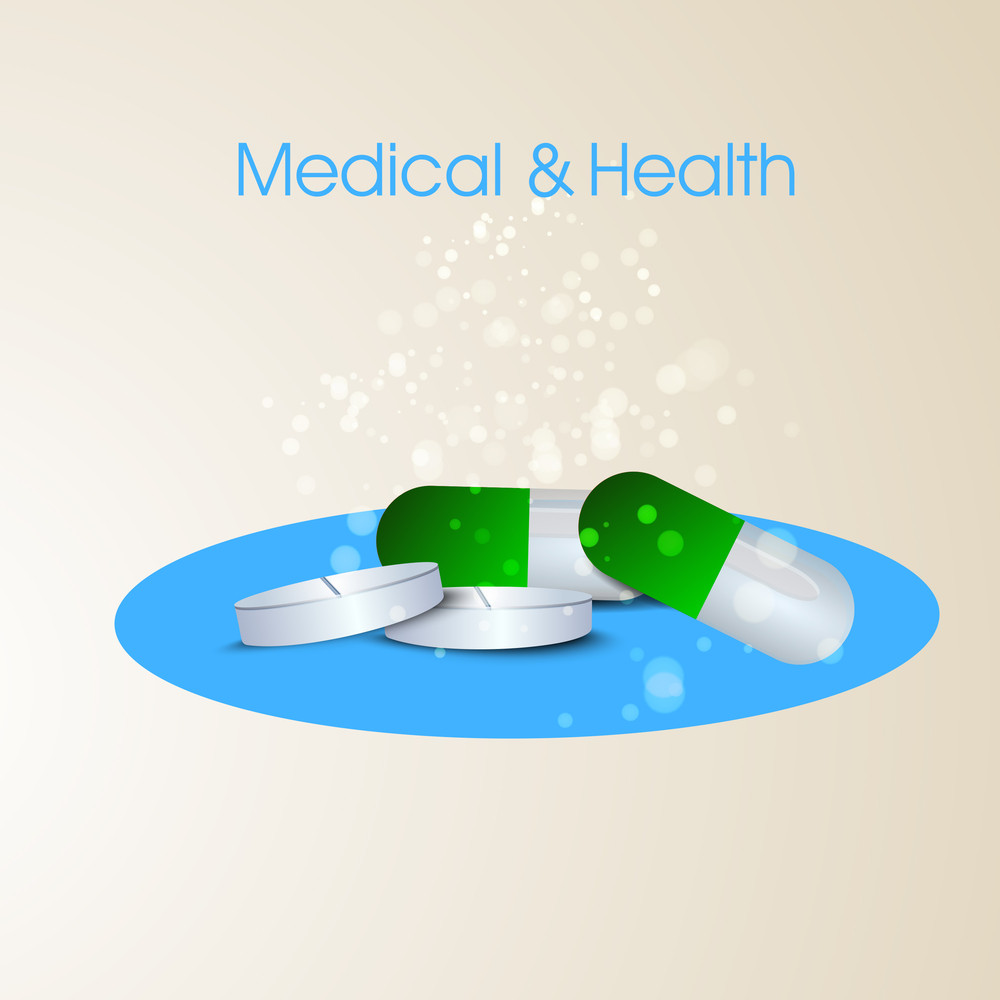 Health & Medical Concept With Medical Pill On Blue And Brown Background.