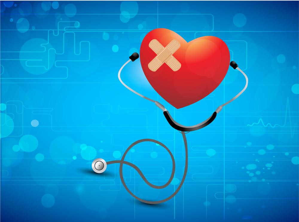 Health & Medical Concept With Red Heart Shape And Sethescope On Shiny Blue Background.