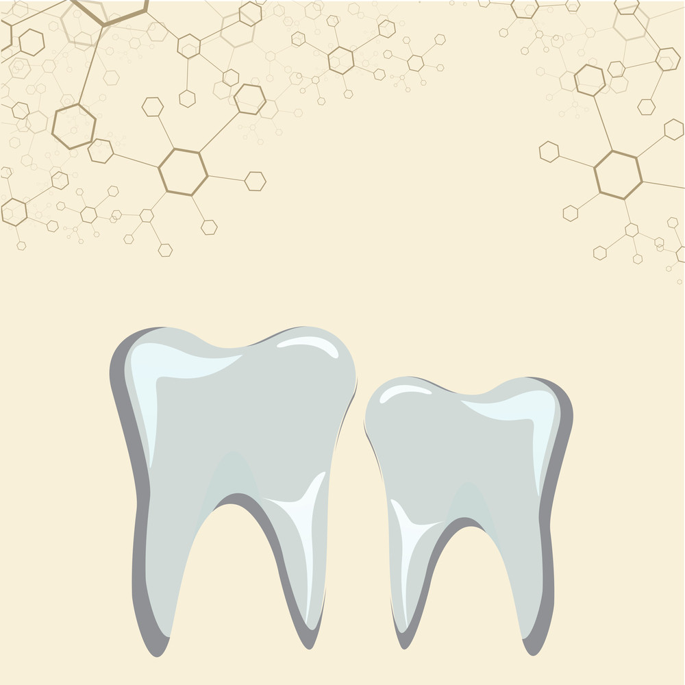 Health & Medical Concept With Strong Teeth On Abstract Molecule Backgrond.
