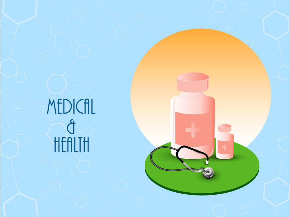 Health & Medical Concept With Syrup On Blue Background.
