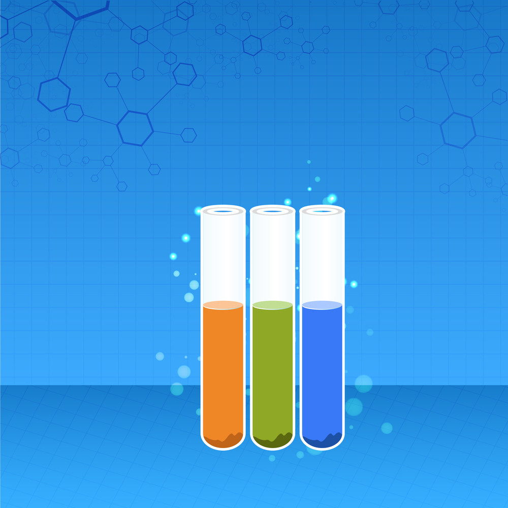 Health & Medical Concept With Test Tubes On Blue Background.