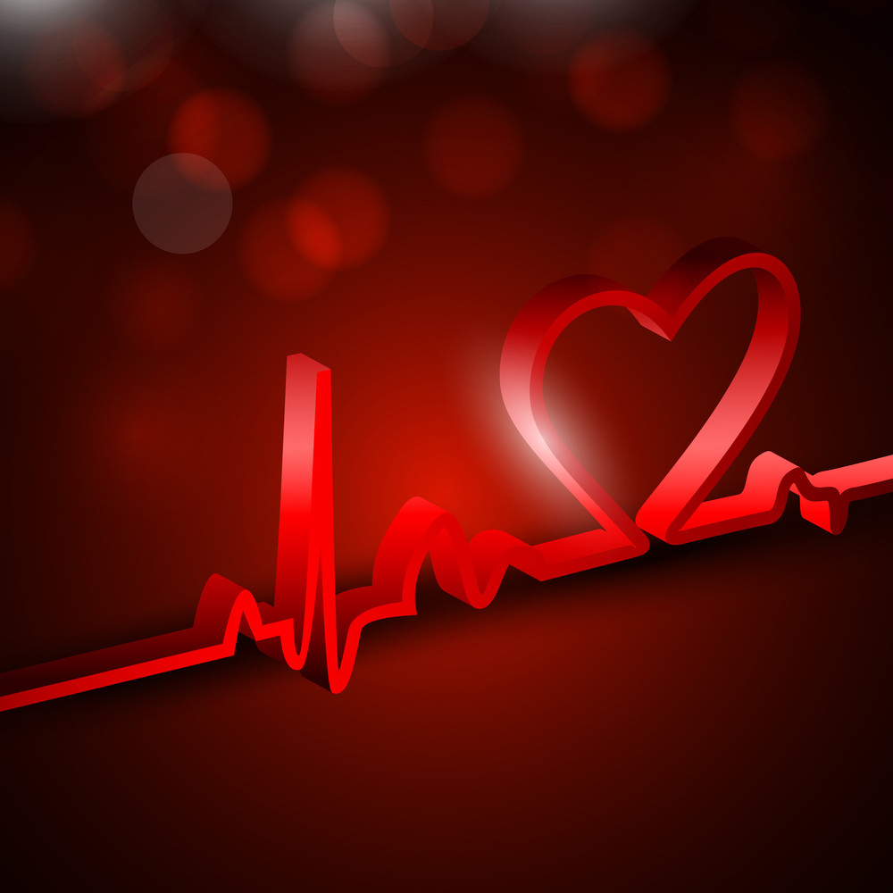 Heart And Heartbeat Symbol On Reflective Surface.