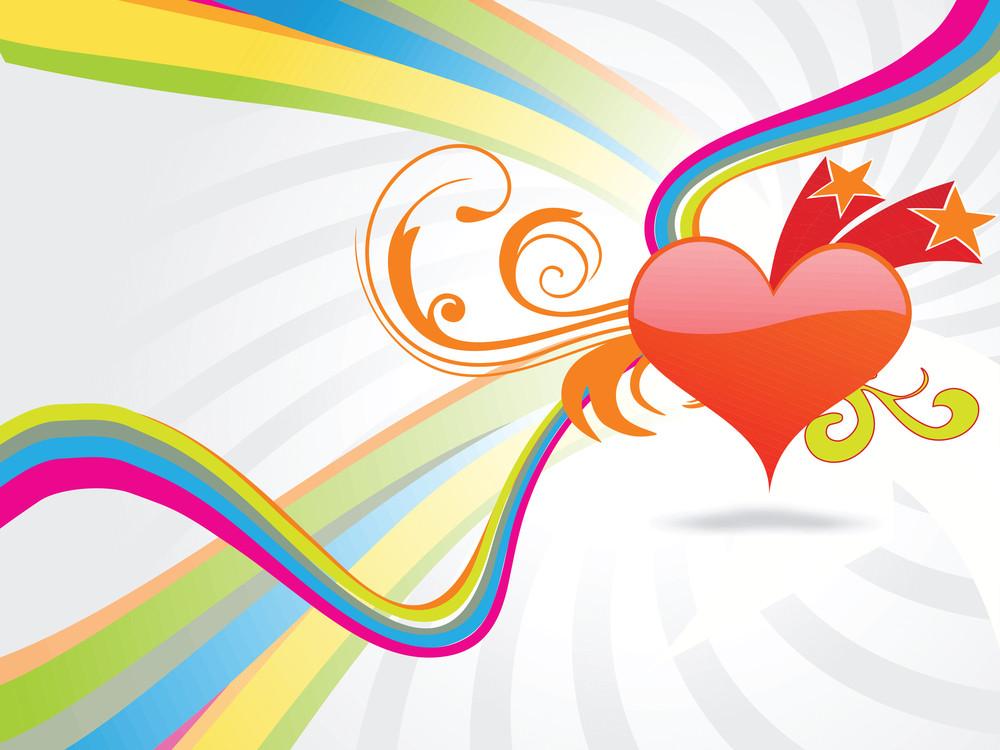 Heart And Stars Design Wallpaper