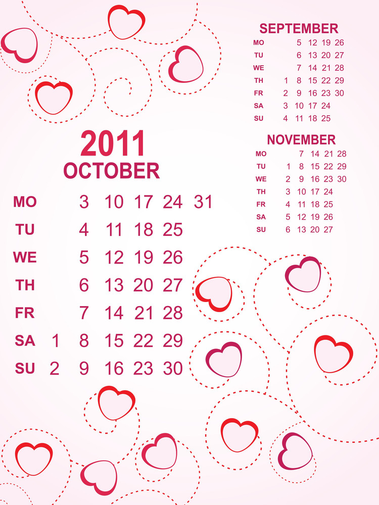 Heart Background Calendar For 2011