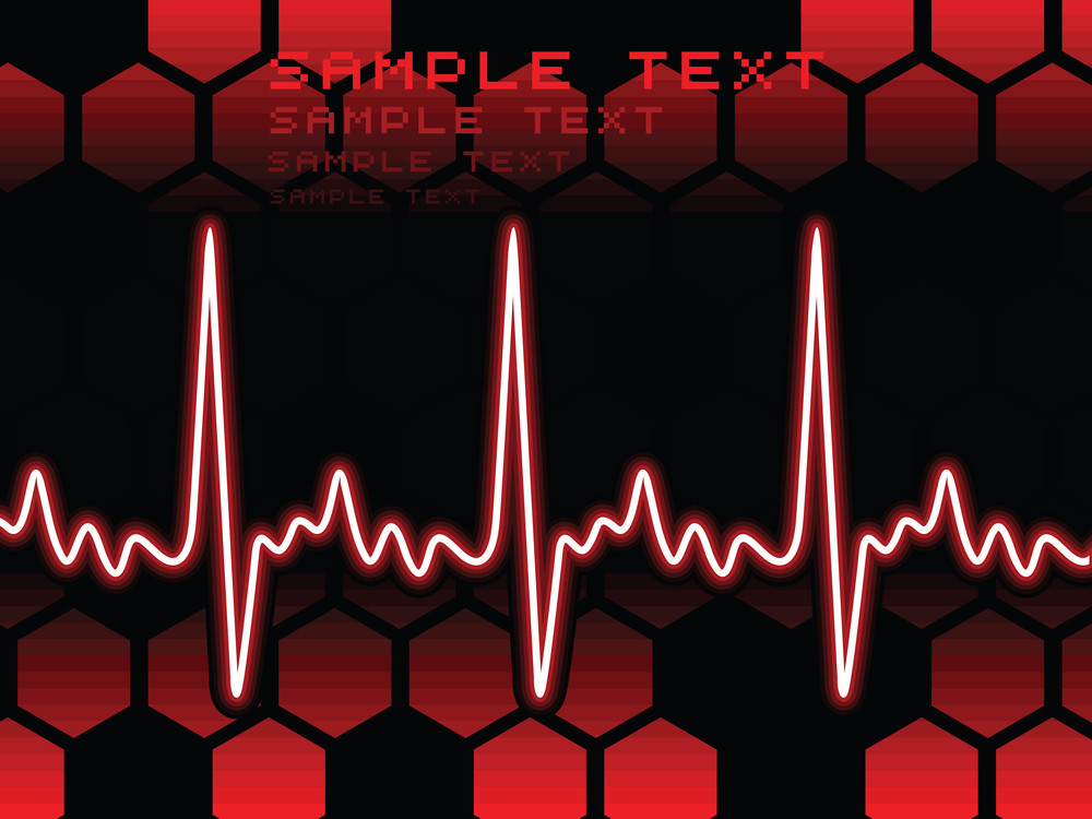 Heart Beat With Abstract Design Background