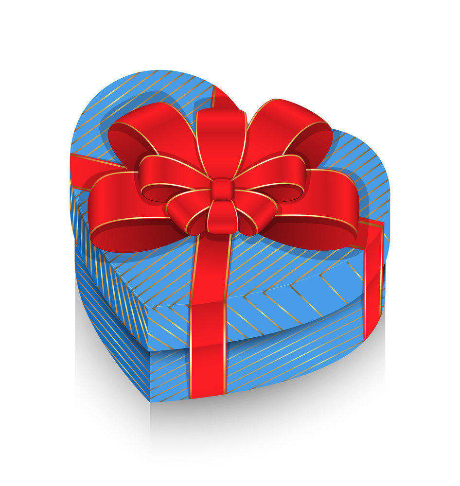 Heart Box Wrapped With Ribbon